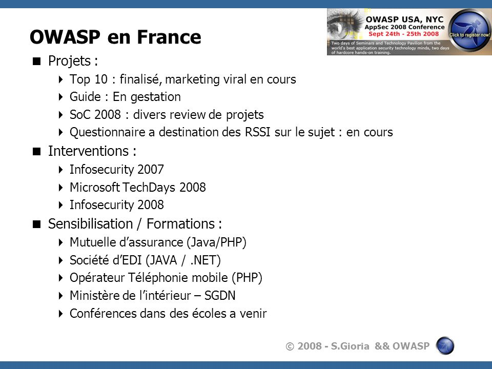 OWASP en France Projets : Interventions :