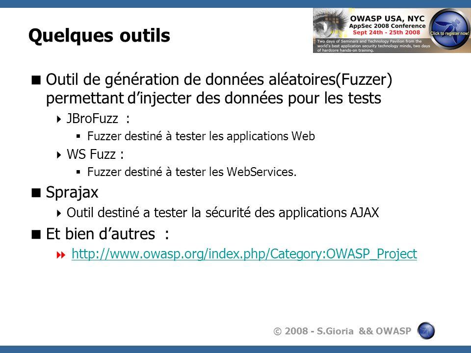 Quelques outils Outil de génération de données aléatoires(Fuzzer) permettant d'injecter des données pour les tests.