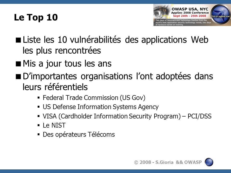 Liste les 10 vulnérabilités des applications Web les plus rencontrées