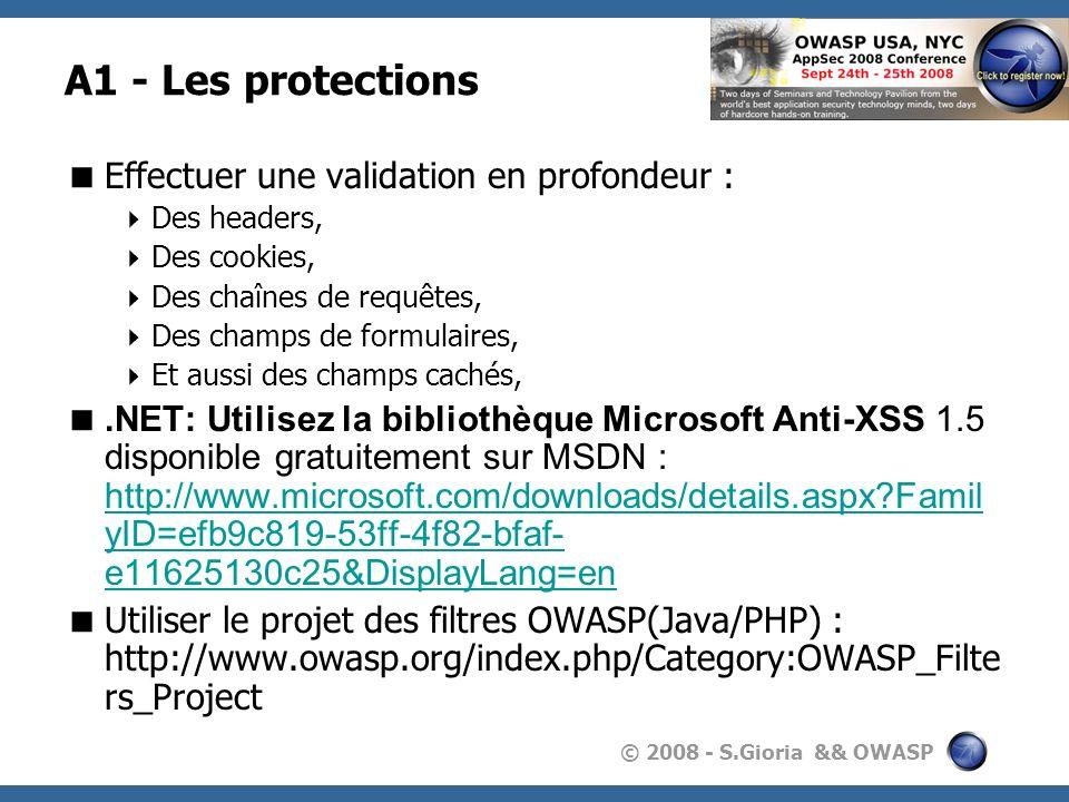 A1 - Les protections Effectuer une validation en profondeur :