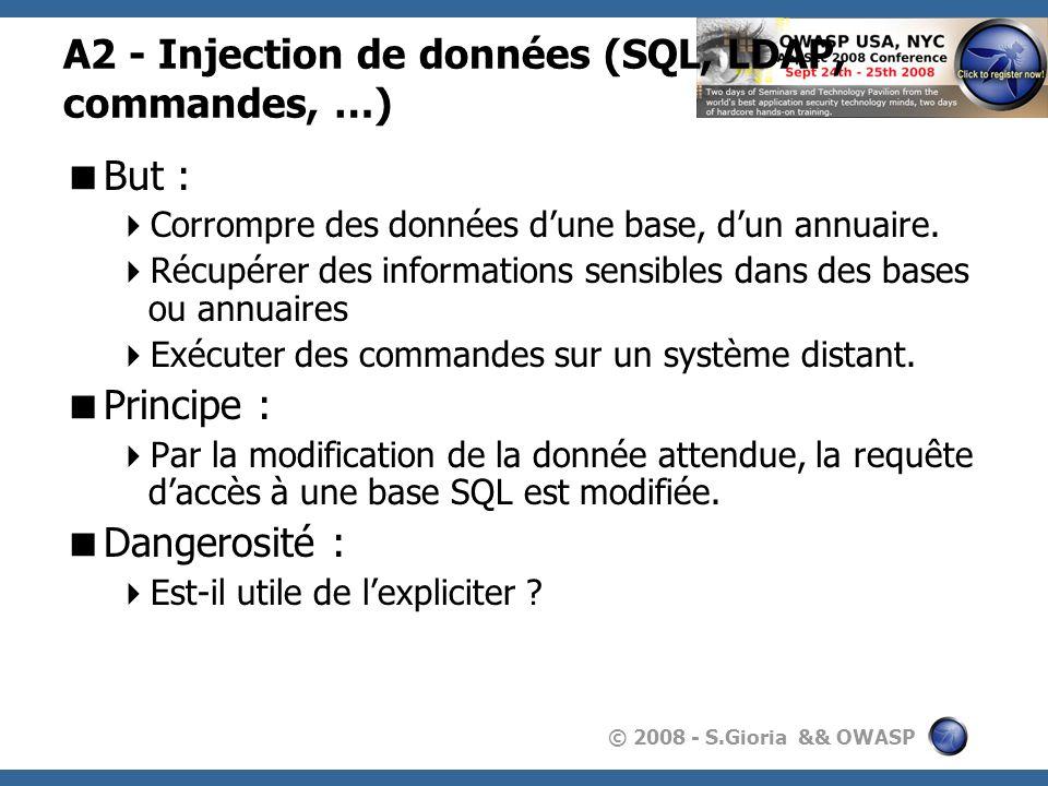 A2 - Injection de données (SQL, LDAP, commandes, …)