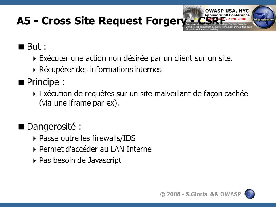 A5 - Cross Site Request Forgery - CSRF