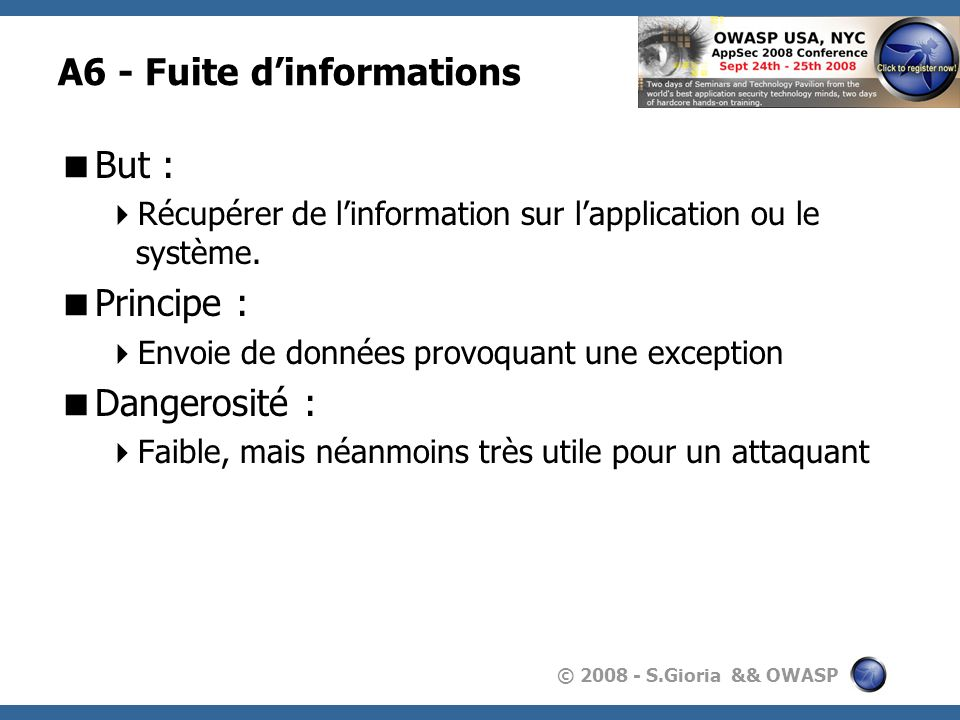 A6 - Fuite d'informations