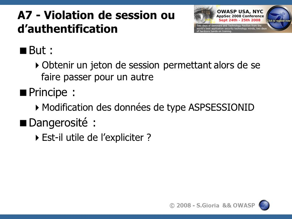 A7 - Violation de session ou d'authentification