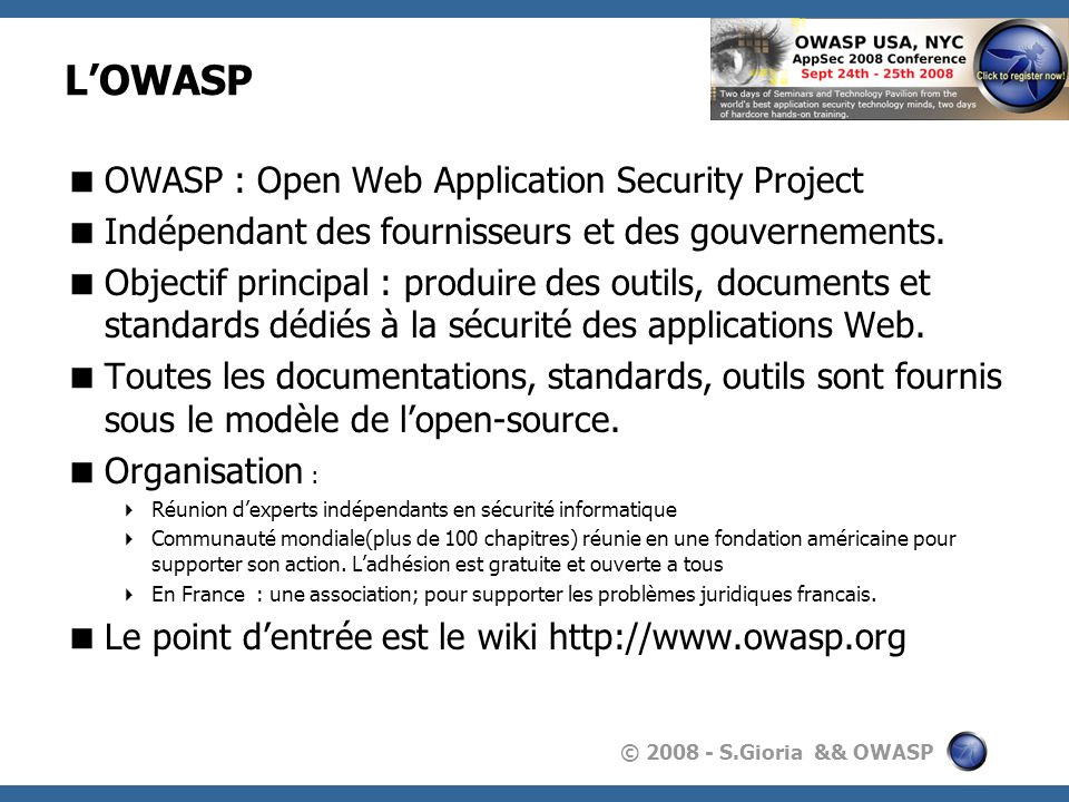 L'OWASP OWASP : Open Web Application Security Project
