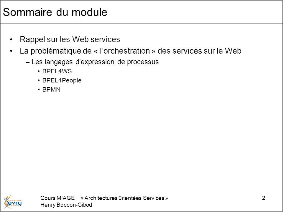 Sommaire du module Rappel sur les Web services