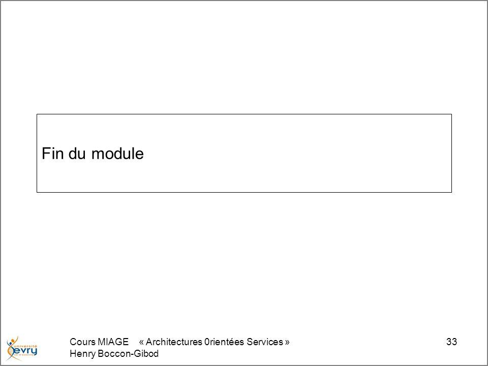 Fin du module Cours MIAGE « Architectures 0rientées Services »