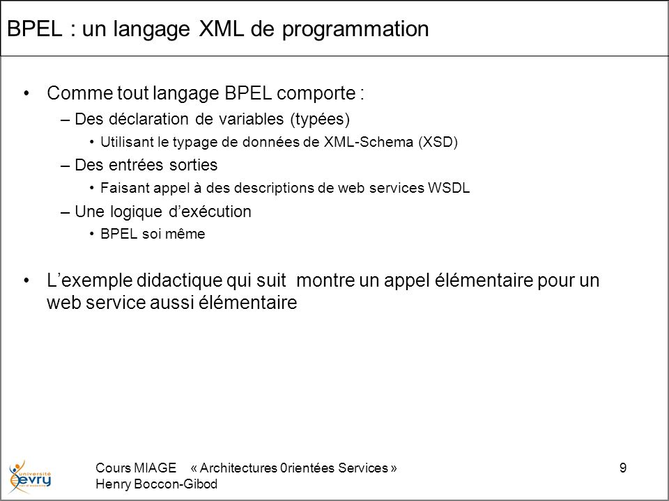 BPEL : un langage XML de programmation