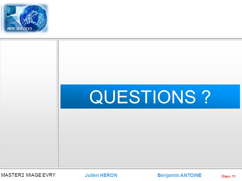 QUESTIONS MASTER2 MIAGE EVRY Julien HERON