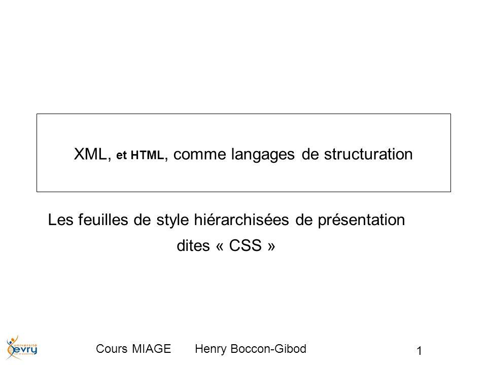 XML, et HTML, comme langages de structuration