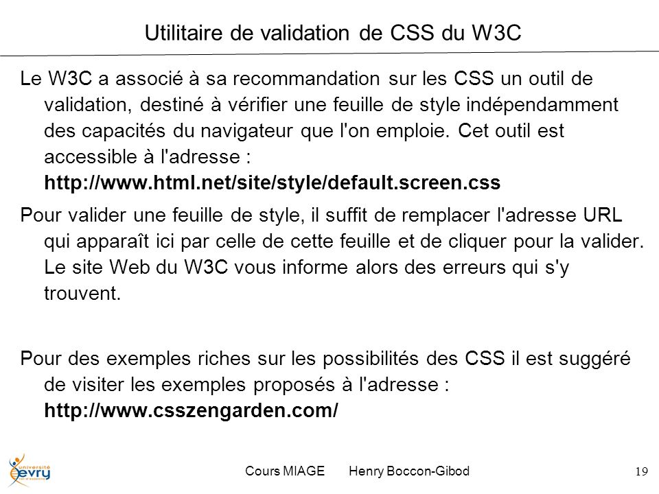 Utilitaire de validation de CSS du W3C