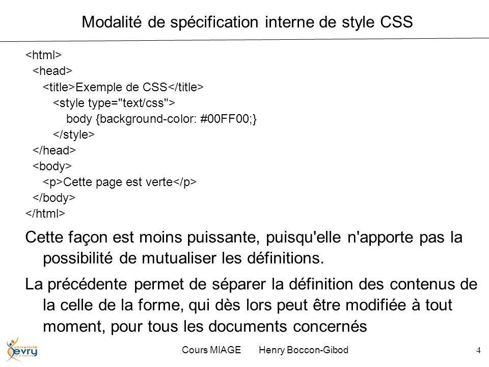 Modalité de spécification interne de style CSS