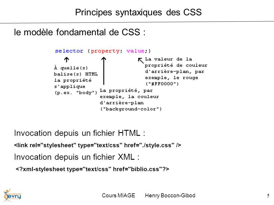 Principes syntaxiques des CSS