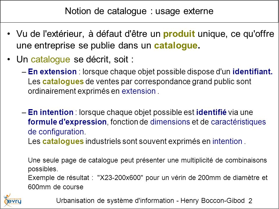 Notion de catalogue : usage externe