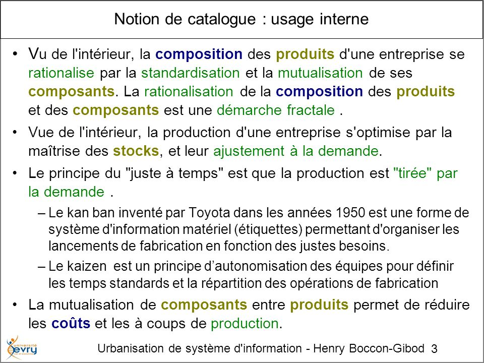 Notion de catalogue : usage interne