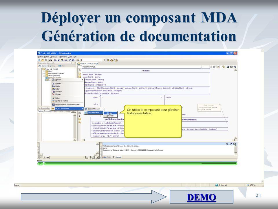 Déployer un composant MDA Génération de documentation