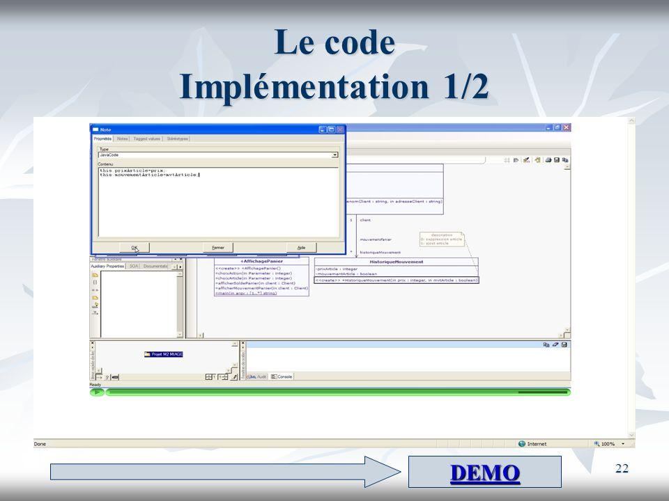 Le code Implémentation 1/2