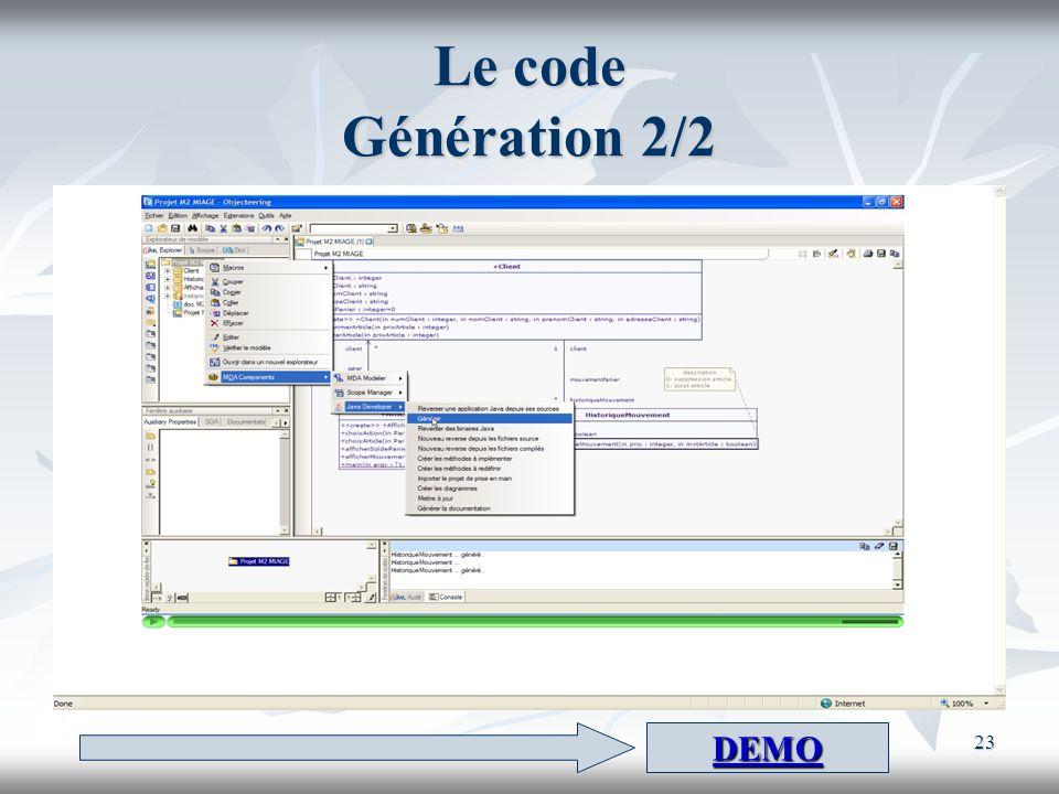 Le code Génération 2/2 DEMO