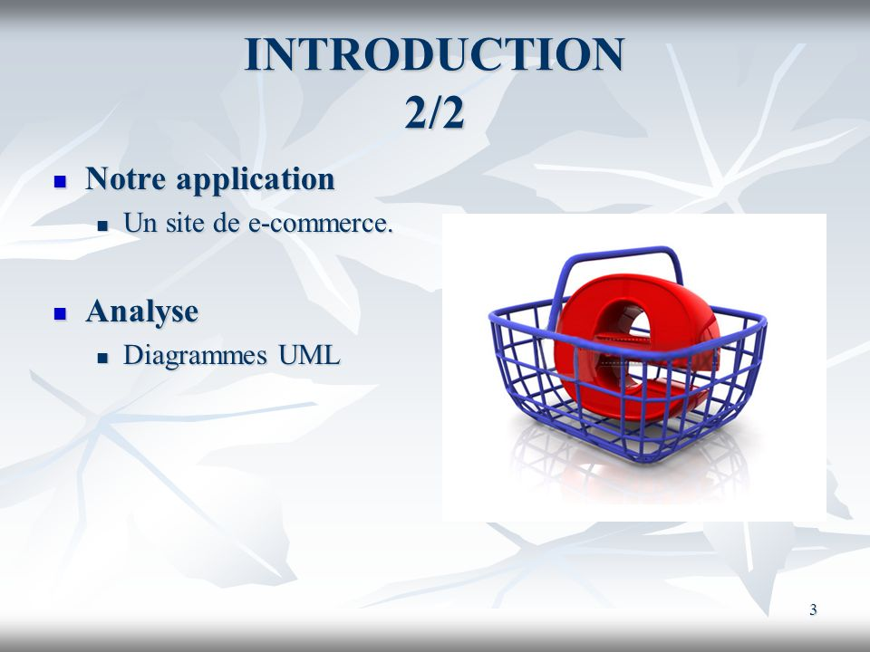 INTRODUCTION 2/2 Notre application Analyse Un site de e-commerce.