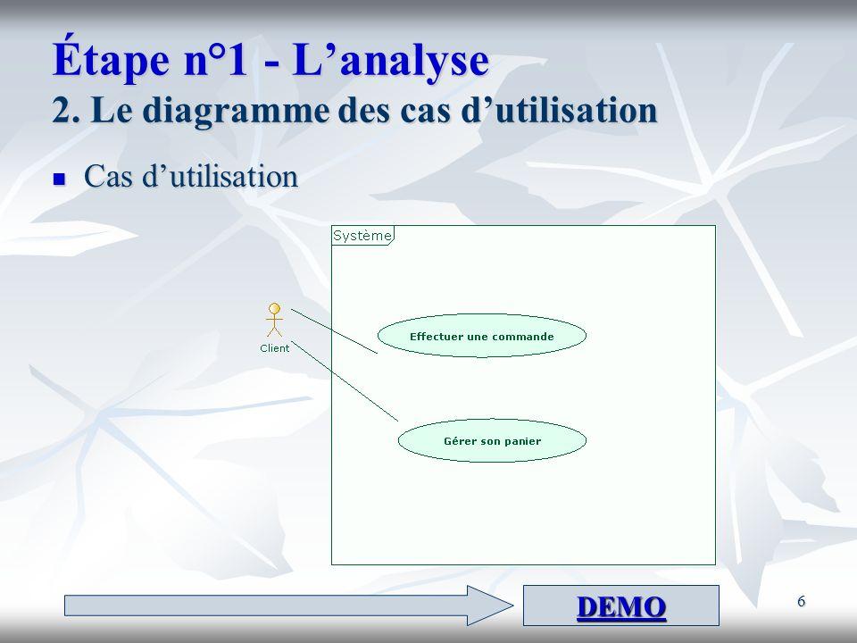 Étape n°1 - L'analyse 2. Le diagramme des cas d'utilisation
