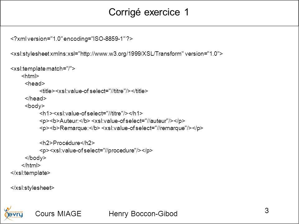 Corrigé exercice 1 Cours MIAGE Henry Boccon-Gibod