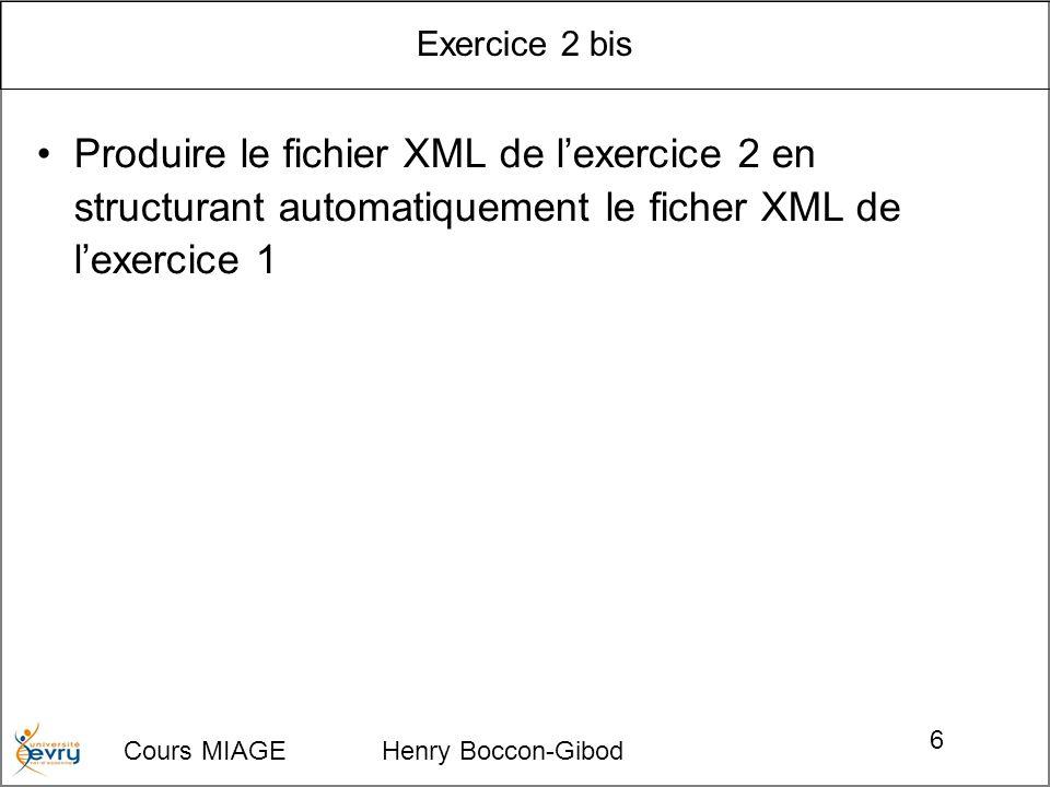 Exercice 2 bis Produire le fichier XML de l'exercice 2 en structurant automatiquement le ficher XML de l'exercice 1.