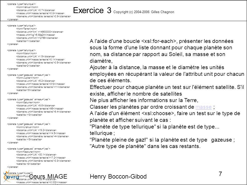 Exercice 3 Copyright (c) 2004-2006 Gilles Chagnon