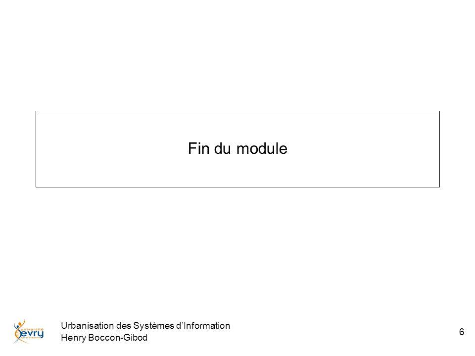 Fin du module Urbanisation des Systèmes d'Information