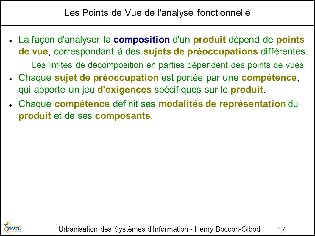 Les Points de Vue de l analyse fonctionnelle