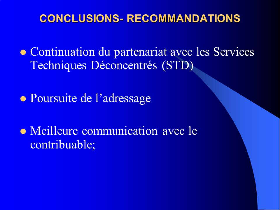 CONCLUSIONS- RECOMMANDATIONS