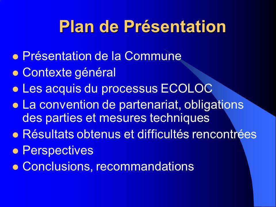 Plan de Présentation Présentation de la Commune Contexte général