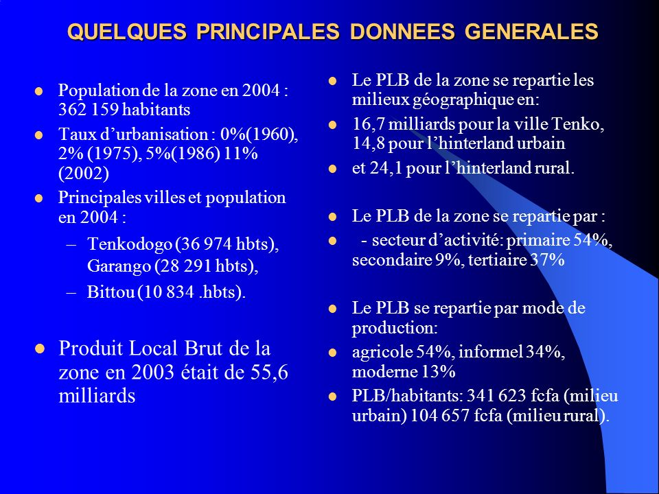 QUELQUES PRINCIPALES DONNEES GENERALES