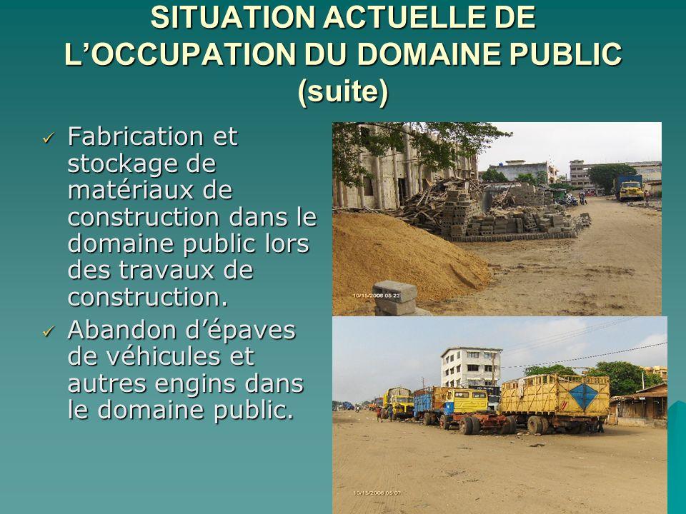 SITUATION ACTUELLE DE L'OCCUPATION DU DOMAINE PUBLIC (suite)