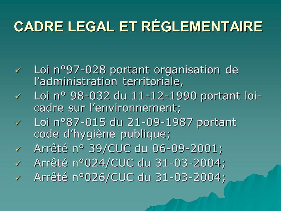 CADRE LEGAL ET RÉGLEMENTAIRE