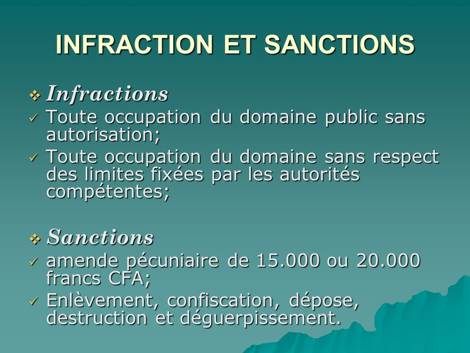 INFRACTION ET SANCTIONS