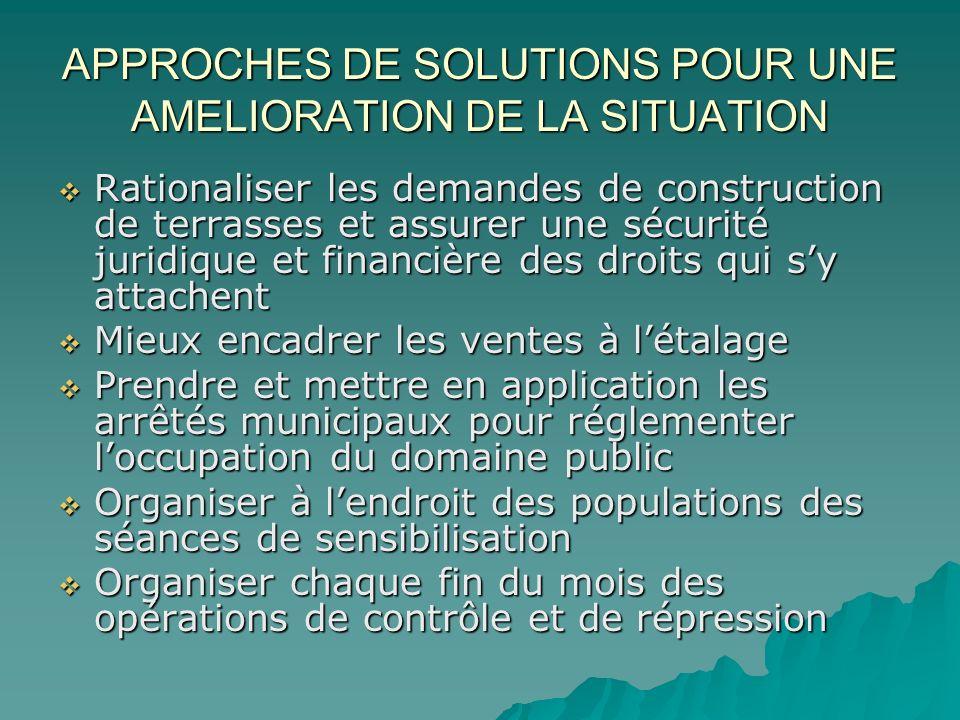 APPROCHES DE SOLUTIONS POUR UNE AMELIORATION DE LA SITUATION