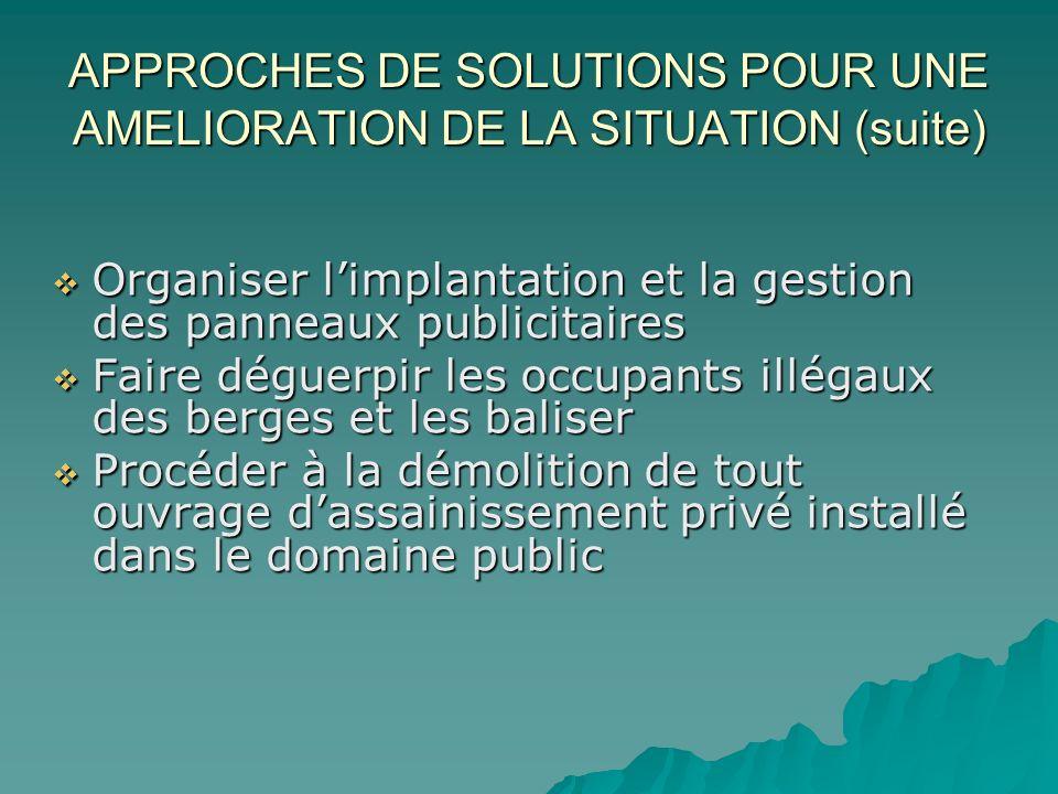 APPROCHES DE SOLUTIONS POUR UNE AMELIORATION DE LA SITUATION (suite)