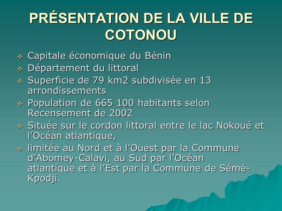 PRÉSENTATION DE LA VILLE DE COTONOU