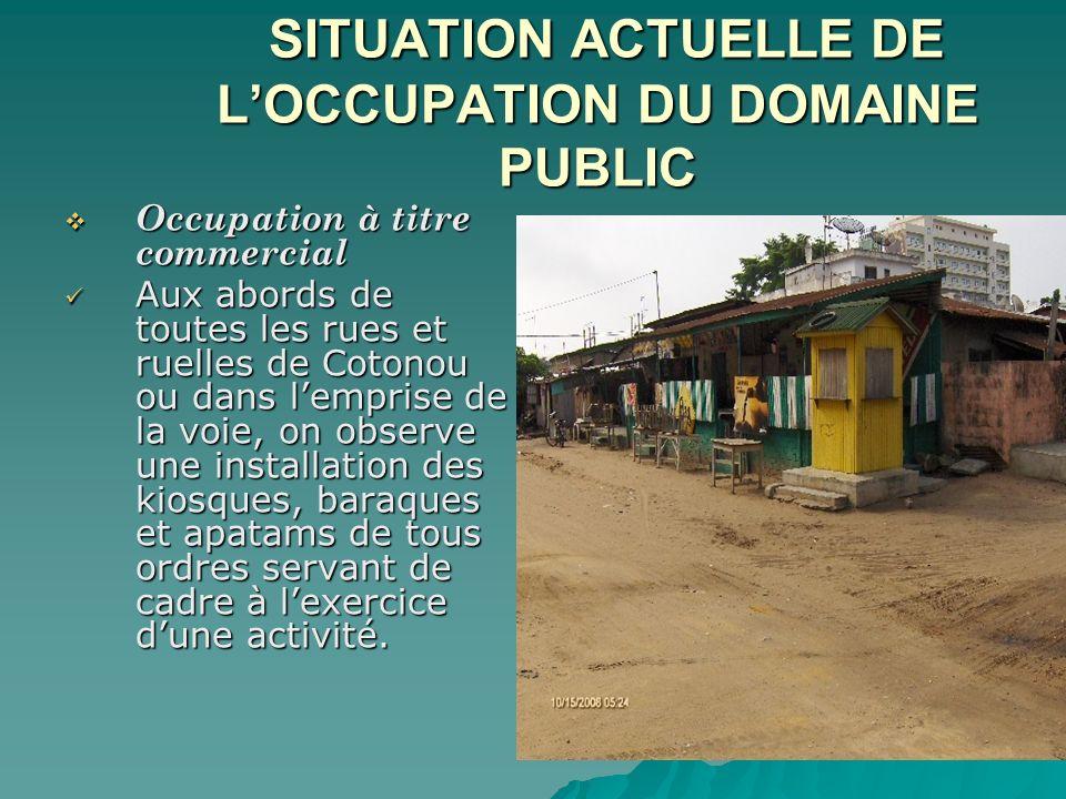 SITUATION ACTUELLE DE L'OCCUPATION DU DOMAINE PUBLIC