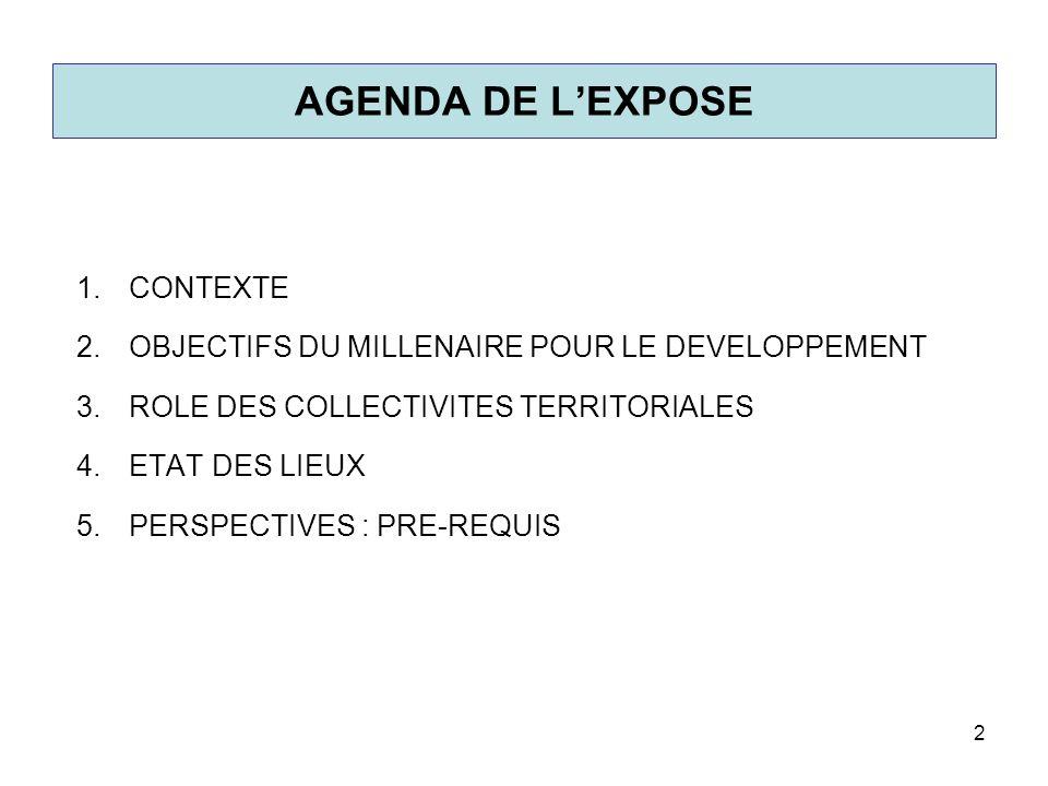 AGENDA DE L'EXPOSE CONTEXTE