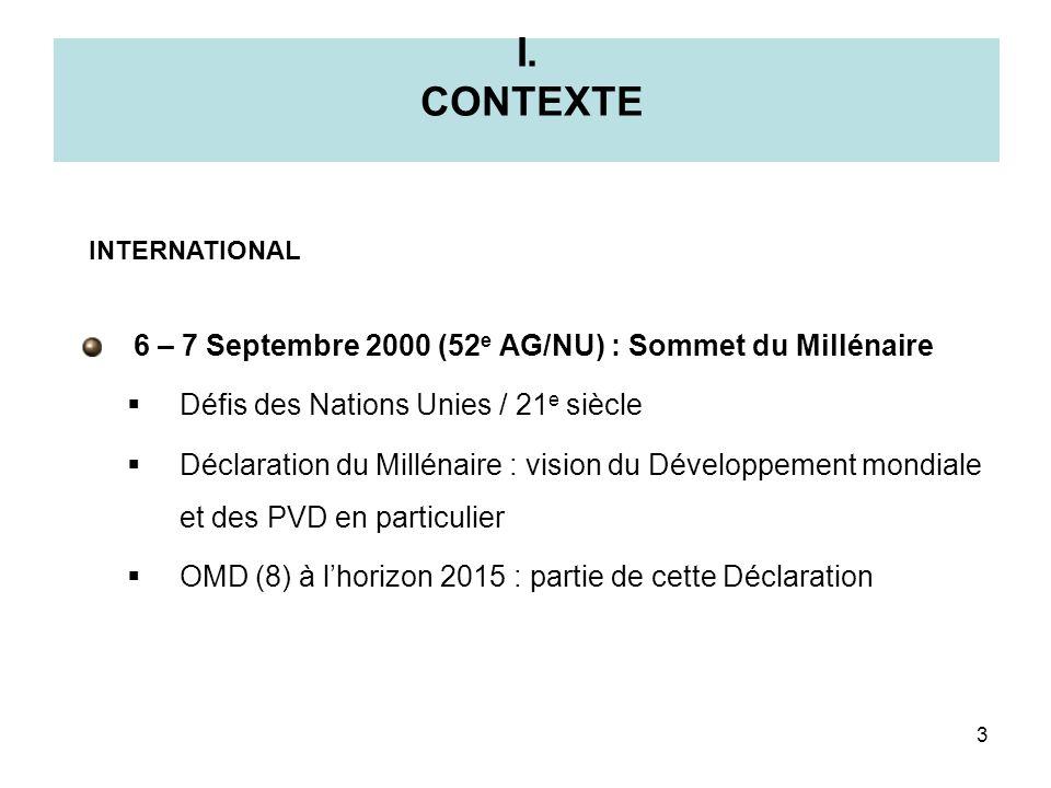 I. CONTEXTE 6 – 7 Septembre 2000 (52e AG/NU) : Sommet du Millénaire