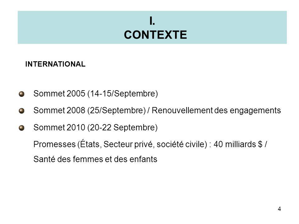I. CONTEXTE Sommet 2005 (14-15/Septembre)