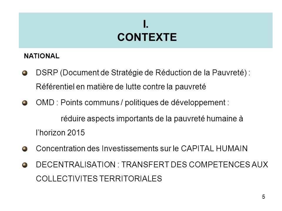 I. CONTEXTE NATIONAL. DSRP (Document de Stratégie de Réduction de la Pauvreté) : Référentiel en matière de lutte contre la pauvreté.