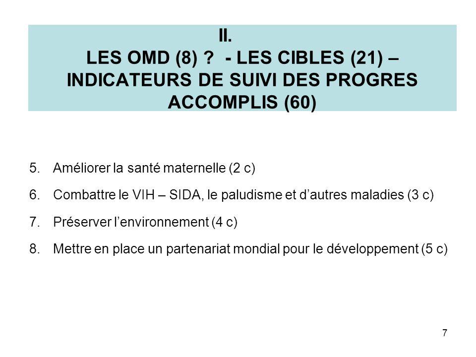 II. LES OMD (8) - LES CIBLES (21) – INDICATEURS DE SUIVI DES PROGRES ACCOMPLIS (60)