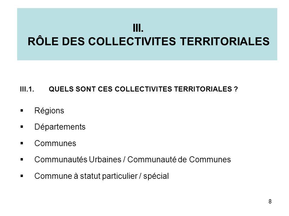 III. RÔLE DES COLLECTIVITES TERRITORIALES