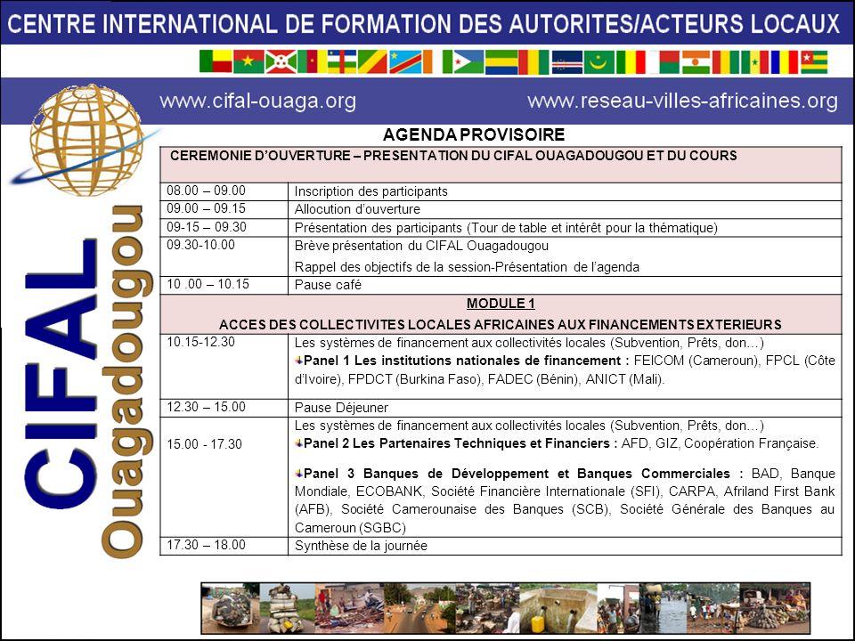 ACCES DES COLLECTIVITES LOCALES AFRICAINES AUX FINANCEMENTS EXTERIEURS