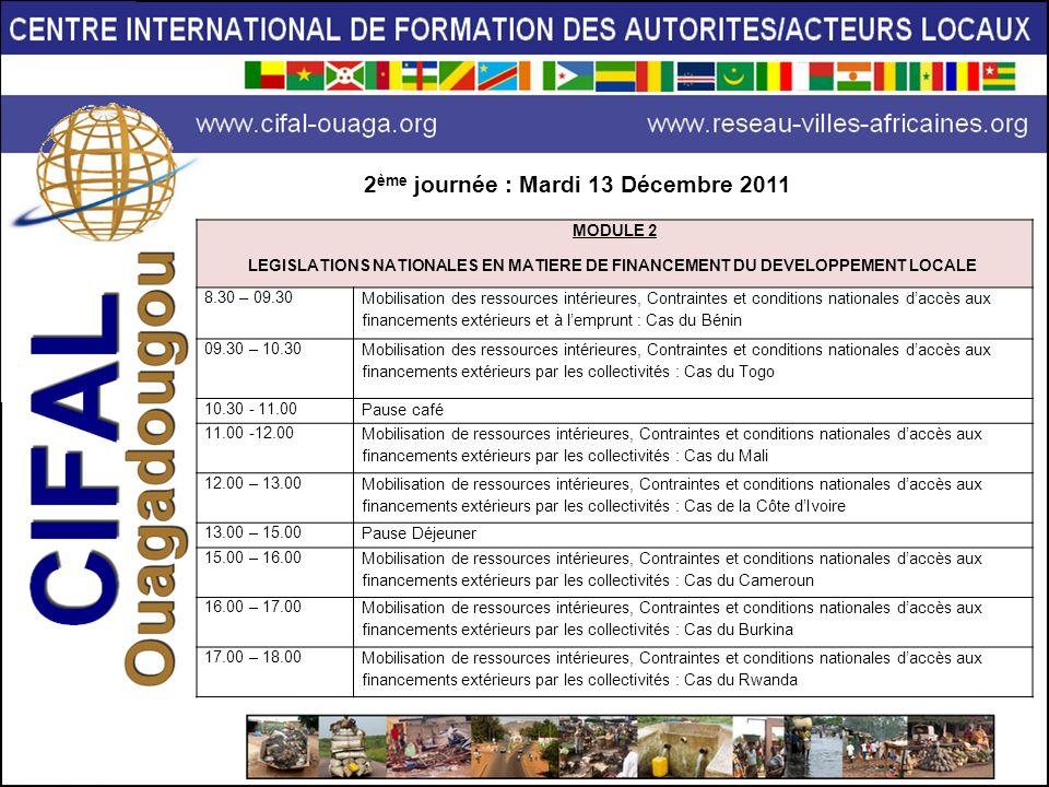 2ème journée : Mardi 13 Décembre 2011