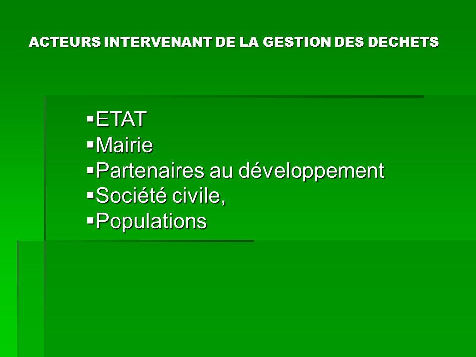 ACTEURS INTERVENANT DE LA GESTION DES DECHETS