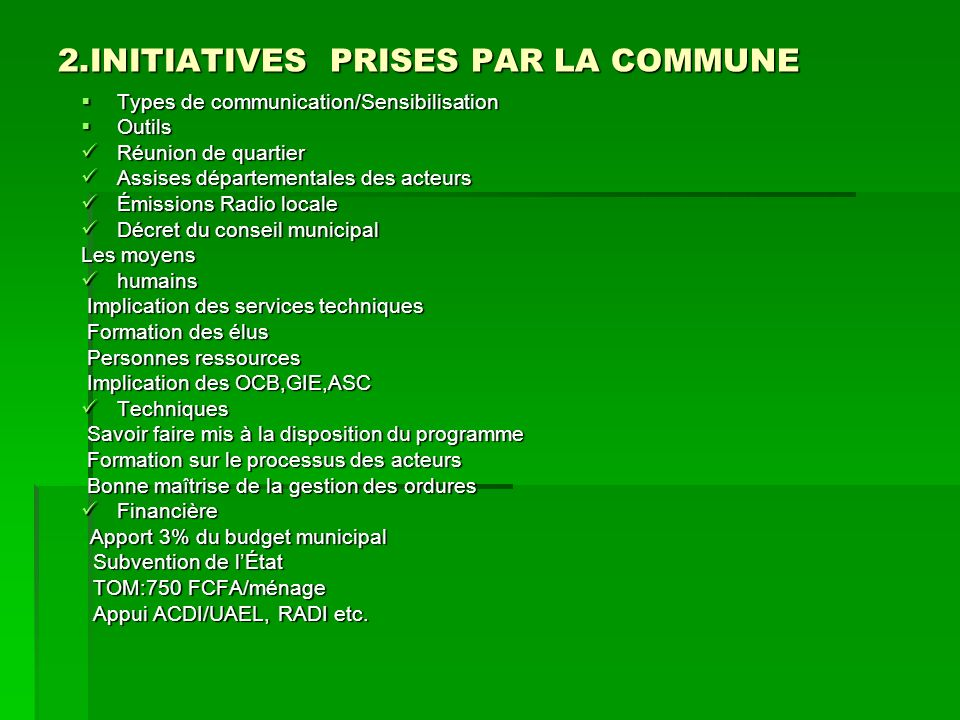2.INITIATIVES PRISES PAR LA COMMUNE