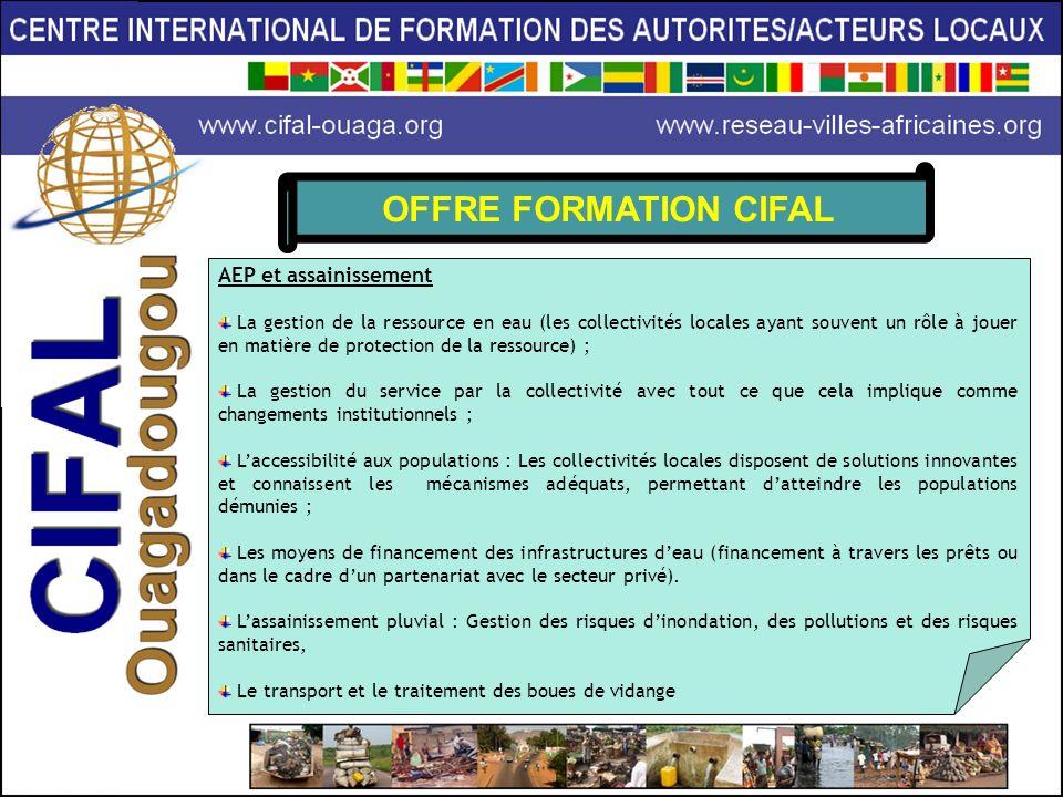 OFFRE FORMATION CIFAL AEP et assainissement